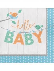 16 Serviettes en papier Hello Baby bleu 33 x 33 cm