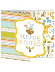 8 Cartons d'invitation Jungle rayés multicolores 10 x 12 cm