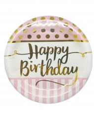 8 Assiettes en carton Happy Birthday rose et or 23 cm