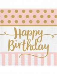20 Serviettes en papier Happy Birthday rose et or 33 x 33 cm