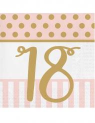20 Serviettes en papier 18 ans rose et or 33 x 33 cm