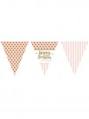 Guirlande à fanions en papier Happy Birthday rose et or 3,7 m