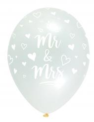 6 Ballons en latex Mr & Mrs blanc et gris 30 cm