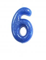 Bougie sur pique chiffre 6 bleu pailleté 7 cm