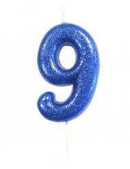 Bougie sur pique chiffre 9 bleu pailleté 7 cm