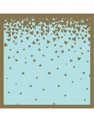 16 Serviettes en papier Pluie de Cœurs bleu et rose 33 x 33 cm