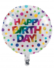Ballon aluminium Happy Birthday arc-en-ciel 46 cm