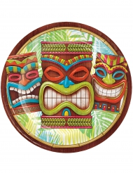 8 Assiettes en carton Tiki Hawai 23 cm