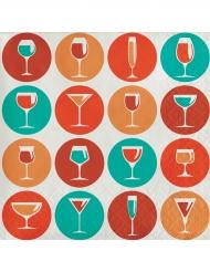 24 Petites serviettes en papier Cercles de Cocktail 25 x 25 cm