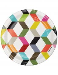10 Petites assiettes en carton Chevrons multicolores 18 cm