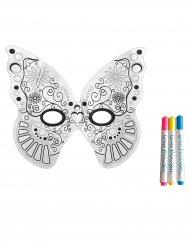 Masque lavable Papillon à colorier avec 3 marqueurs