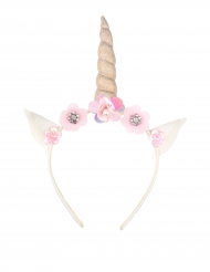 Serre-tête Licorne avec fleurs blanc, rose et doré fille