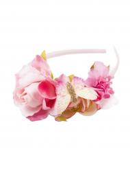 Serre-tête Couronne de Fleurs roses fille