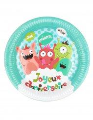 6 Petites assiettes en carton Happy Monsters 18 cm