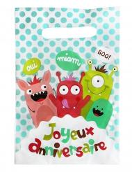 6 Sacs à bonbons en plastique Happy Monsters 23 x 15 cm