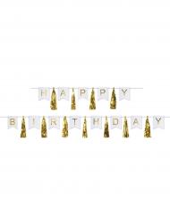 Guirlande tassel Happy Birthday dorée et blanche 4.56 m