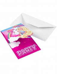 8 Cartons d'invitations Barbie Dreamtopia™