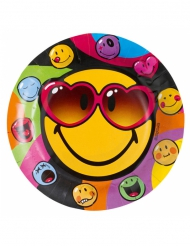 8 Assiettes en carton Smiley World™ 23 cm