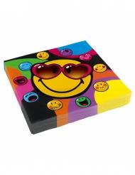 20 Serviettes en papier Smiley World™ 33 x 33 cm