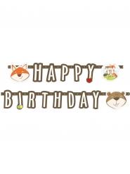 Bannière en papier Happy Birthday Renard et Castor 180 x 15 cm