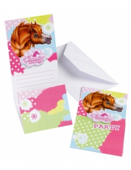 6 Cartons d'invitation Charming Horses