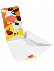 8 Cartons d'invitations Ferme Rigolote