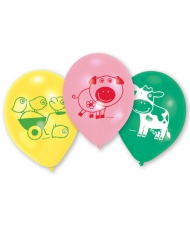 6 Ballons en latex Ferme Rigolote 70 cm