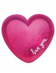 6 Assiettes en carton en forme de Cœur rose 20 cm