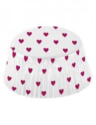 48 Moules à cupcake Petits coeurs roses 50 x 25 mm