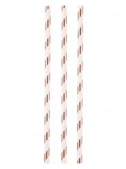 12 Pailles en carton blanches et dorées 19 cm