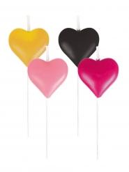 8 Mini bougies en forme de Cœurs fuchsia, noir et doré