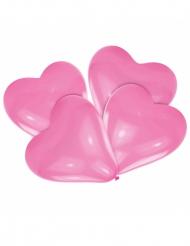 4 Ballons en latex cœurs roses 30 cm