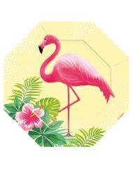 6 Petites assiettes en carton octogonales Flamingo Paradise 18 cm