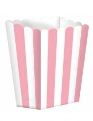 5 Boîtes à popcorn en carton rose et blanc 9,5 x 13,5 cm