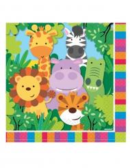 20 Serviettes en papier les Animaux de la jungle 33 x 33 cm