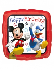 Ballon carré aluminium Happy Birthday Mickey™ 40 x 40 cm