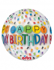 Ballon transparent Happy Birthday 38 x 40 cm