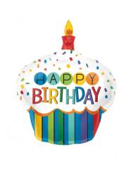 Petit ballon aluminium cupcake Happy Birthday 20 x 27 cm