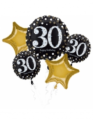Bouquet de 5 ballons aluminium 30 ans Happy Birthday noir et or