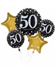 Bouquet de 5 ballons aluminium 50 ans Happy Birthday noir et or