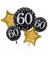 Bouquet de 5 ballons aluminium 60 ans Happy Birthday noir et or