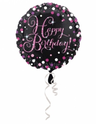 Ballon aluminium Happy Birhday noir et fuchsia 43 cm