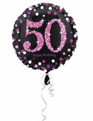 Ballon aluminium 50 ans Happy Birthday noir et fuchsia 43 cm