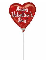 Petit ballon aluminium cœur Happy Valentine's Day rouge 23 cm