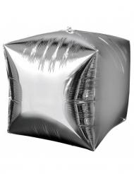 Ballon aluminium cube argent 38cm
