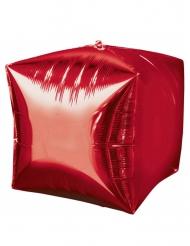 Ballon aluminium cube rouge 38cm