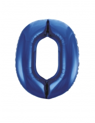 Ballon aluminium chiffre 0 bleu 88 cm