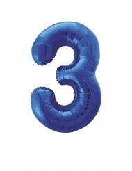 Ballon aluminium chiffre 3 bleu 88 cm