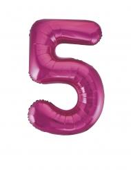 Ballon aluminium chiffre 5 fuchsia 86 cm