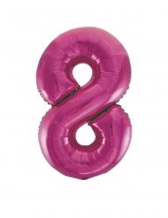 Ballon aluminium chiffre 8 fuchsia 83 cm